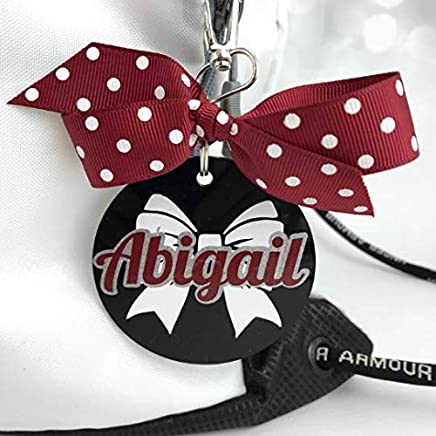 Cheer Bow Bag Tag Personalized with Your Name and Your Colors