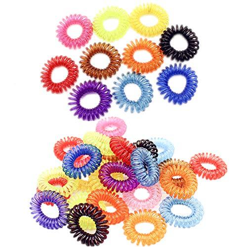 YouU 20 Stück Elastische-Haargummis für Mädchen Bunte Haarbänder Ring Bobble dehnbar Spule Pferdeschwanz Halter Frauen Haarschmuck Gummi-Haarknoten, Zufällige Farbe (Transparent color)