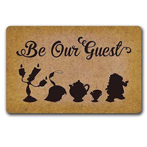 Eureya-Fußmatte für den Eingangsbereich drinnen oder draußen, Gummimatte/Teppich, dekorativ,Be Our Guest, 40x60cm