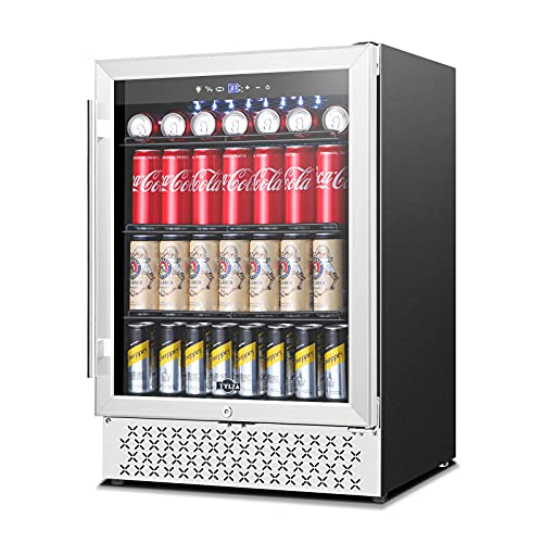 TYLZA Beverage Refrigerator 24 Inch, 190 Can Built-in/Freestanding Beverage Cooler Fridge with Glass Door and Advanced Cooling Compressor for Beer and Soda or Wine, Low Noise, 37-64 F