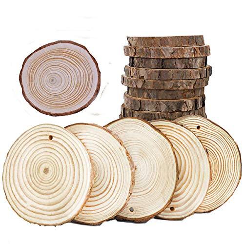 S-TROUBLE 5 uds círculos de rebanadas de Madera Redondas Naturales sin terminar con Discos de Troncos de Corteza de árbol para Manualidades DIY decoración de Pintura para Fiesta de Boda