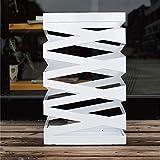 RENYC Paragüero creativo pequeño soporte de paraguas para hotel, vestíbulo, hogar, hierro, paraguas de barril, con bandeja de goteo, cuadrado, 30 x 15 x 49 cm (color blanco)