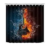JYEJYRTEJ Klassisches Instrument, Feuergitarre Dekorativer Duschvorhang kann gewaschen & getrocknet Werden,12Haken,180X200cm,geeignet für Badezimmer