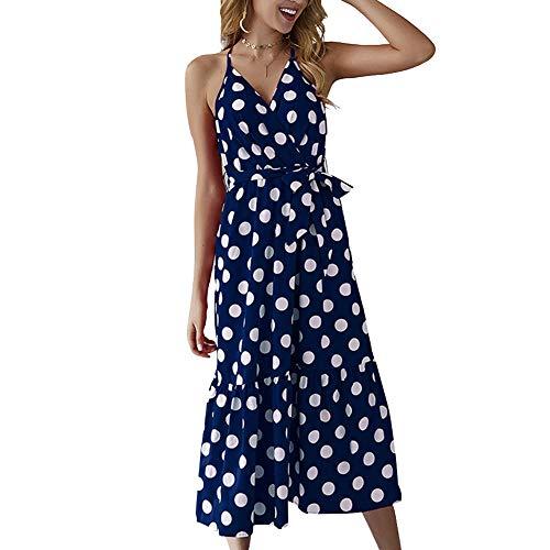 Huaheng Vrouwen Mouwloos Backless Polka Dots Mode Lace-Up Spaghetti Strap Midi Jurk voor de zomer 2XL marineblauw