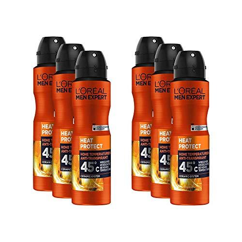L'Oréal Men Expert Heat Protect Deo Spray, 6er Vorratspack, schützt vor Schweiß und Gerüchen hilft Schweißbildung bis 45°C zu kontrollieren (6 x 150 ml)