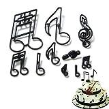 Ruluti 10 Unids/Set Musical Hornear Molde Cupcake Note Theme Cutter Cortador Plástico Fondant Cutters Torta Decoración Herramientas