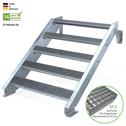 Außentreppe 5 Stufen 100 cm Laufbreite - ohne Geländer - Anstellhöhe variabel von 83 cm bis 100 cm - Gitterroststufe ST1 - feuerverzinkte Stahltreppe mit 1000 mm Stufenlänge als montagefertiger Bausatz