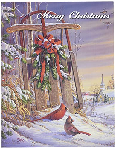 """LANG - """"Wintertime Cardinal"""", Boxed Christmas Cards, Artwork by Sam Timm"""" - 18 Cards, 19 envelopes - 5.375"""" x 6.875"""""""