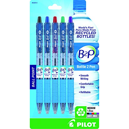 PILOT B2P - Bottle to Pen Refillable & Retractable Ball Point Pen Made From Recycled Bottles, Medium Point, Black/Blue/Red/Green/Purple Inks, 5-Pack (32814)