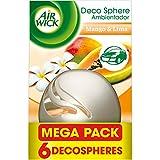 Air Wick Decosphere Mango y Lima, Ambientador Coche Óptimo, Salón, Recibidor, Megapack 6 Ambientadores - 1 Unidad