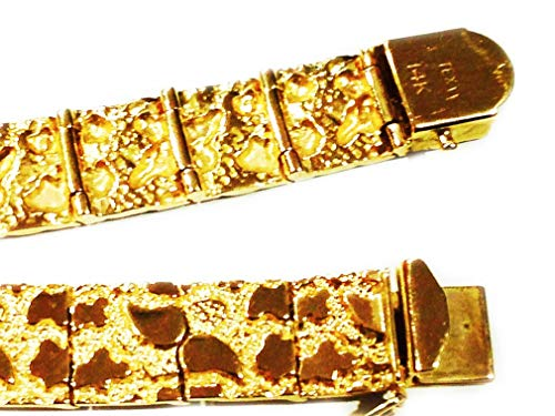 14Kt Solid Gold Mens Nugget Heavy Bracelet 11 Mm 27 Grams 8 Inches