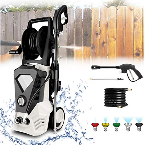 KGK White Electric Pressure Washer with 32ft Cable, 2.6GPM 1800W 3500PSI Upgraded High Pressure Power Washer Machine with Spray Gun for Cleaning Homes,Buildings,Cars,Fences,Decks,Driveways[US Stock]