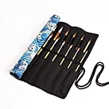 20 Slots Artist Paint Brush Roll Up Bag Holder Canvas Pouch Makeup Case Organizer Rollup Protection(Without Brushes) (Blue spray)