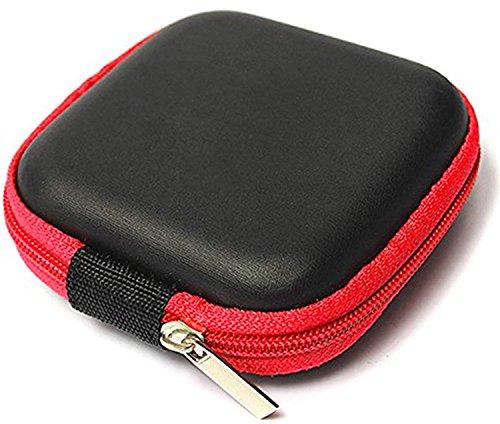Lucklystar mini-hoofdtelefoonopbergtas voor hoofdtelefoon, geheugenkaarten, USB Flash Drive en lensfilter (A-rood)