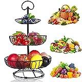 YADIMI Frutero de 3 Pisos, Desmontable Metal Cesta Fruta, Fruteros de Cocina Negro Estilo Vintage para Verduras y Frutas Frescas