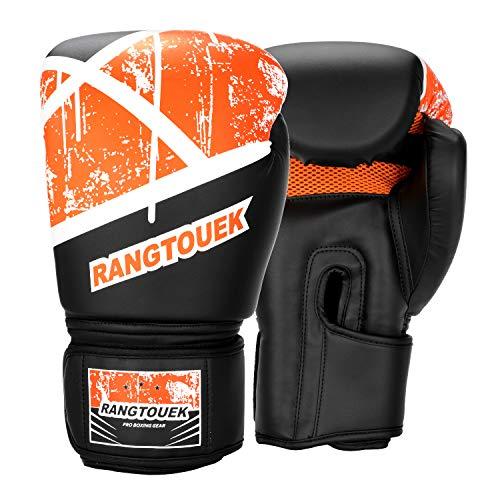 RangTouek Boxhandschuhe für Training & Muay Thai, Punchinghandschuhe mit PU-Leder für Kickboxen, Sparring & Boxsack, 14 oz, Schwarz und Rot
