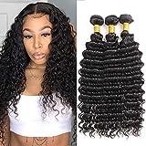 Brazilian Deep Wave Bundles (16 18 20) 100% Virgin Wet and Wavy Human Hair 3 Bundles 10A Unprocessed Curly Bundles Hair Weave Natural Color