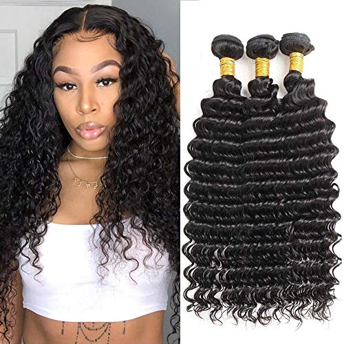 Brazilian Deep Wave Bundles (16 18 20) 100% Virgin Wet and Wavy Human Hair 3 Bundles 10A Unprocessed Curly Bundles Hair Weave Natural Color