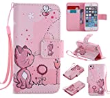 SMYTU iPhone SE Case,iPhone 5S Case Leather Wallet Phone Case [Card Holder] Magnetic Closure Stand Flip Protective Cover Case for iPhone se/5s/5 (Cat)