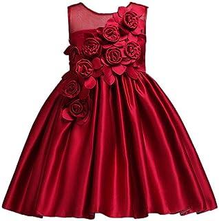 055d1c92b CYDKZMEPA Vestido de Princesa de satén, Vestido de Color sólido para niños, Vestido  de