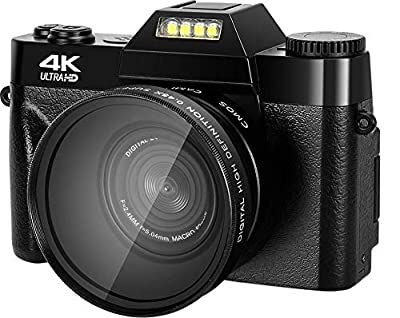 4K Digital Camera, 16X Digital Zoom 48MP Vlogging Camera with 32GB Micro SD Card, 3.0 Flip Screen Blogging Camera for YouTube with Wide Angle Lens Macro Lens 2 Batteries by Lincom Tech