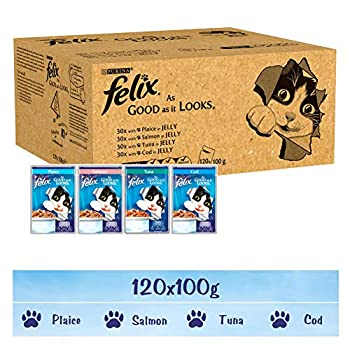 Felix - Nourriture pour chat, Cod, Tuna, Salmon, Plaice (100G X 120)
