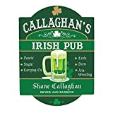 """High gloss, .25"""" thick tempered hardboard wall sign Size: this sign measures 11.5"""" x 15.5"""" Sign will arrive with a plastic peel and stick hanger for easy mounting Free Personalization with any pub name and pub owner's name Makes a unique gift to frie..."""