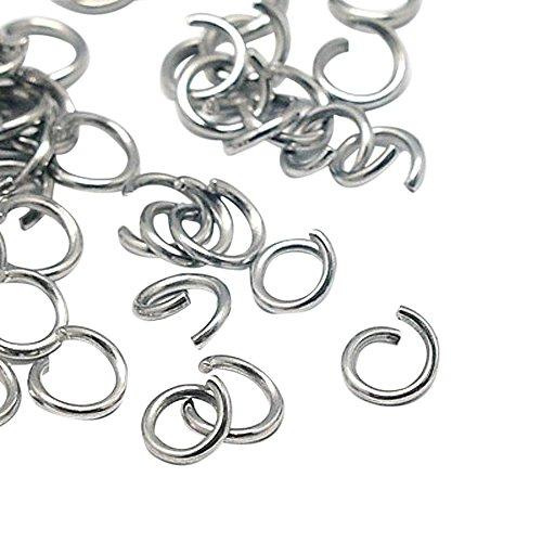PandaHall- Lot de 100 PCS/10g 304 en Acier Inoxydable Anneaux Ouvert, Accessoires de Bijoux, 6x1mm