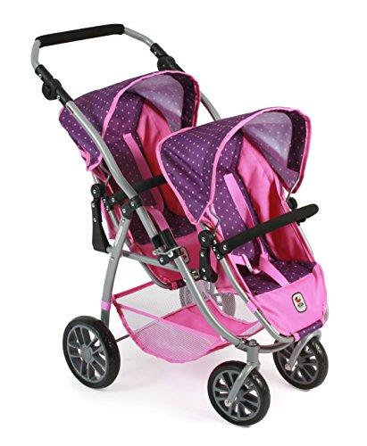 Bayer CHIC 200068940–Passeggino Tandem Vario, Zwilling Passeggino per Bambole per Bambole Fino a ca. 50cm, Dots Purple Pink
