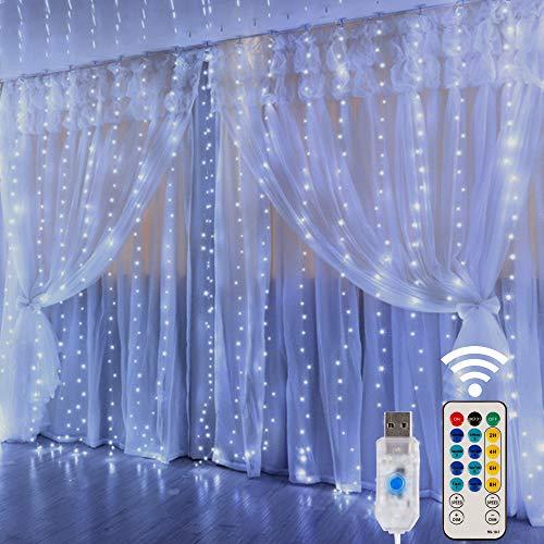 HOME LIGHTING Window Curtain String Lights, 300 LED 8...