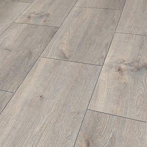 Laminatboden TRECOR 8 mm Stark, Fliesenoptik Laminat mit V-Fuge, Klicksystem Format: 1285 x 327 x 8 mm - für Fußbodenheizung geeignet - Sie kaufen 1 m² (Laminatboden | 1 m², Timber Oak)