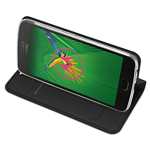 IVSO Moto G5 Plus Cover Slim Flip Cover Custodia per Lenovo Moto G5 Smartphone (Flip Series - Nero)