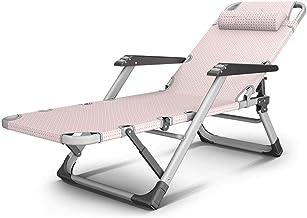 High-quality recliner Sun Lounger Sun Lounger Recliner Folding Chair Chaise Longue Nap Chair Massage Armchair Can Lie Flat Outdoor Beach Chair (Color : Pink)