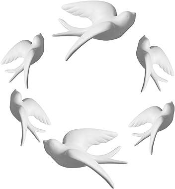Dorlotou Set of 6 White Ceramic Sparrows Swallows Birds Wall Mounted Decor Hanging for Livingroom Garden Wall Sculptures