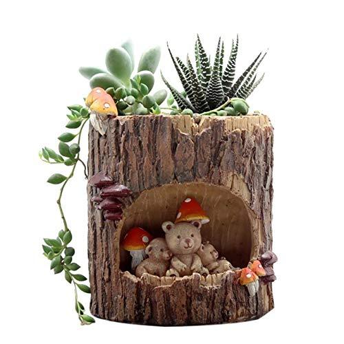SPLLEADER Moderna de Madera Resina Bonsai Pot suculentas Retro Permeable Las Plantas Verdes de cerámica Macetas de Estar Oficina Sala de jardín Decoración del hogar Flor de la Planta