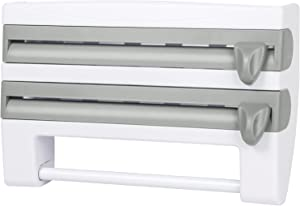Paper Towel Holder, 4-in-1 Plastic Roll Paper Towel Rack Film Storage Rack Cutter for Kitchen. Improved Dispenser for Cling Wrap, Aluminum Tin Foil, Condiment Bottles Shelf. Easy Wall Mount
