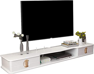 TV Cabinet, TV Lowboard, Floating Shelves, Floating TV Stand Component Shelf, White Pine Wood, Piano Paint, Wall Mounted Media Console, Save Space Easy to Clean. (Color : A, Size : 110CM)