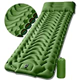 Sleeping Pad Camping Mattress Mat - Ultralight Sleeping Pad for Camping - 4 Inch Thick Waterproof Air Mattress Camping self Inflating Sleeping Pad Mat - Olive Green (Olive Green)