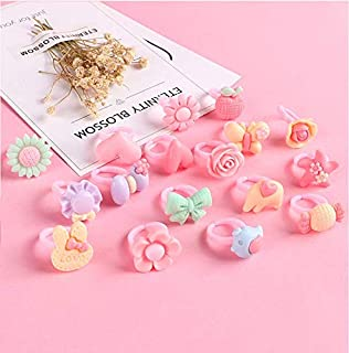 Auch Children Kids Little Girl Cute Lovely Cartoon Jewel Rings in Box Girl Pretend Play and Dress Up Rings for Party Favors, Bridal Shower, Birthday 12pcs DACHM-0716-0002