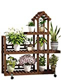 RomanticDesign Plant Stand with Wheels Multi-Layer Wood Flower Shelf Indoor Outdoor Movable Display Shelving Unit for Patio Garden Corner Living Room -F1