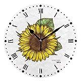 Gokruati Reloj de Pared silencioso,Reloj de Cocina,Relojes de Cuarzo silencioso Que no Hace tictac,para Sala de Estar,dormitorios,(Diámetro: 25 cm),Flores de Dibujo de Pared de Girasol
