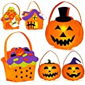 6-Pack FIREOR Halloween Decorations Pumpkin Candy Bags with Light