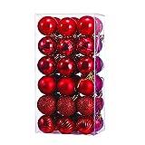 36 Bolas de Navidad Rojas, Bolas para Arbol de Navidad, Bolas de Navidad de Plástico, Navidad Decoración Arbol, Adornos de Navidad para Arbol, Bolas de Navidad, 4 cm