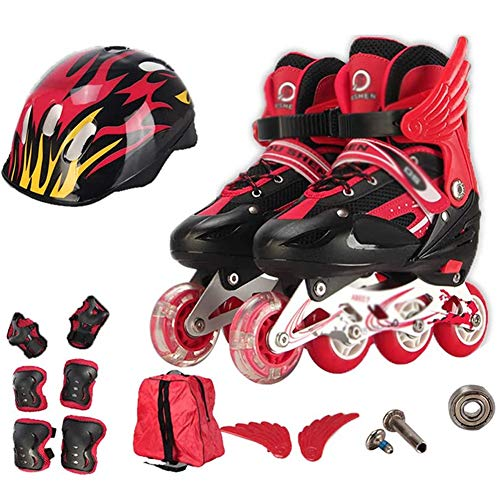 CRXL shop-Heizdecke Kinder-Rollerblades, verstellbare Inline-Skates für Jungen und Mädchen mit sicheren Verriegelungsgurten für Outdoor/Indoor (Color : Yellow, Size : L(39-42))
