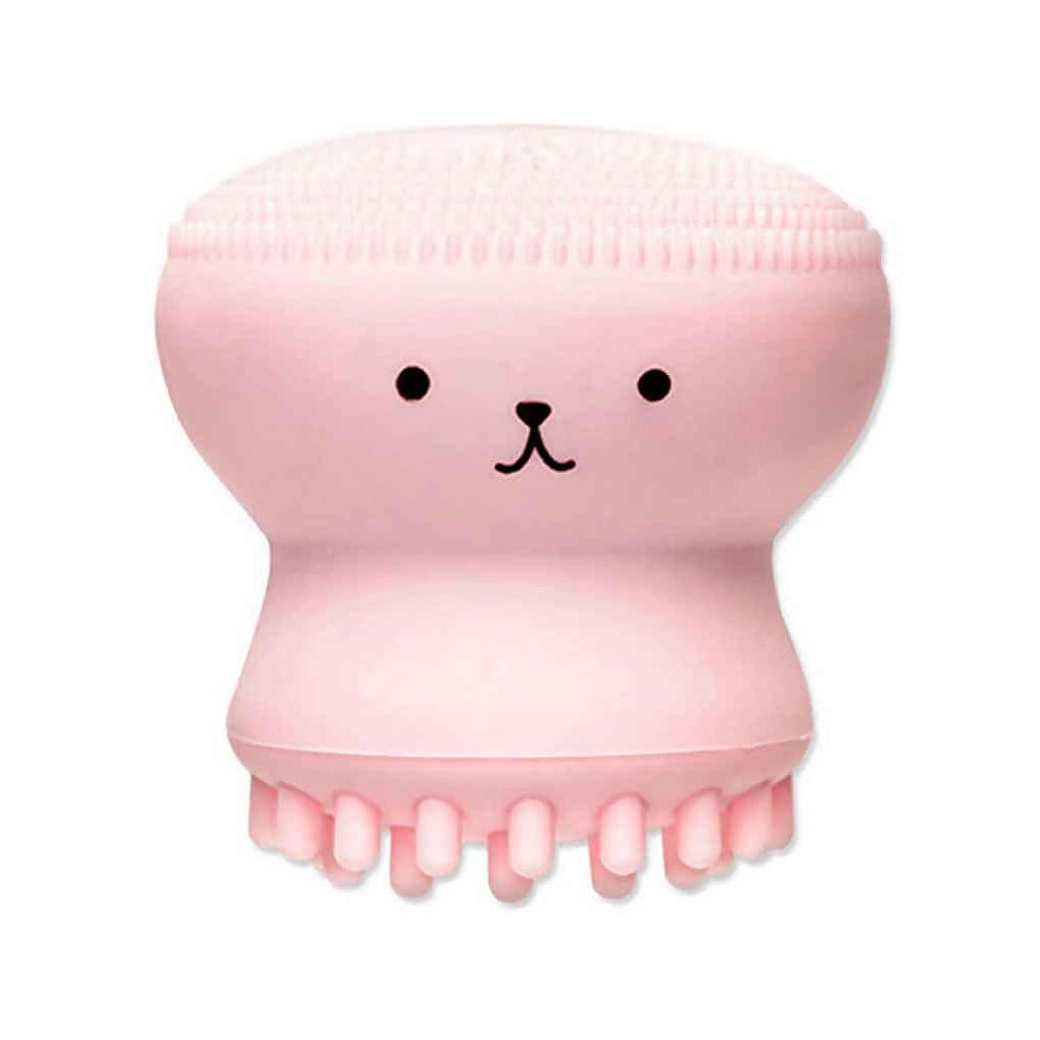 服を洗う牽引からKOROWA洗顔ブラシ フェイスクリーニングブラシ 顔ディープクリーニング 毛穴ケア ブラシ 皮脂 黒ずみ ピンクの章魚
