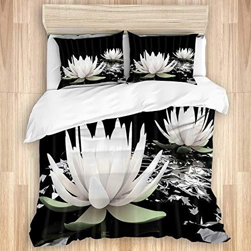 FAKAINU Sábanas de edredón Suaves de Lujo, colchas, Fundas de edredón lavadas, sábanas cómodas Lotus SPA Magic White Lotus Water Lily Flower on Black Background,3 Pieces Luxury Soft Bedding Set