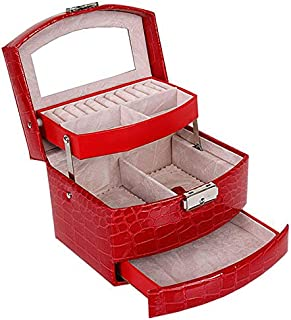 Automatic Leather Jewelry Box Three-Layer Storage Box for Women Earring Ring Cosmetic Organizer Casket for Jewelry Organizer,Red