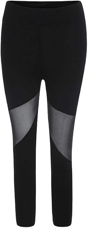 Sopzxclim Womens High Waist Yaga Leggings Mesh Splice Jogging Fitness Cropped Sport Pants Stretch Tight Sweatpants