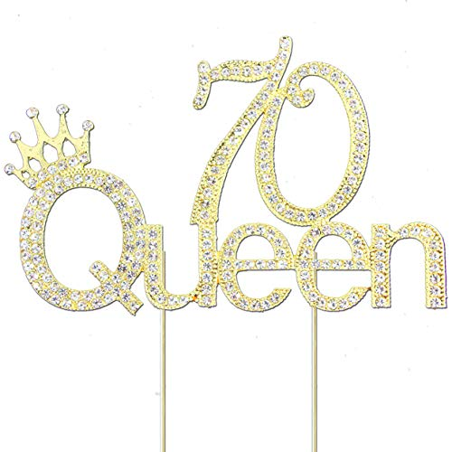 Glitter Crystal Gold Queen 70 Cake Topper | Happy 70th Birthday Rhinestone Diamond Bling Sparkle Gem Monogram Number Party Favor Decoration Idea Perfect Keepsake. (Queen 70 Gold)