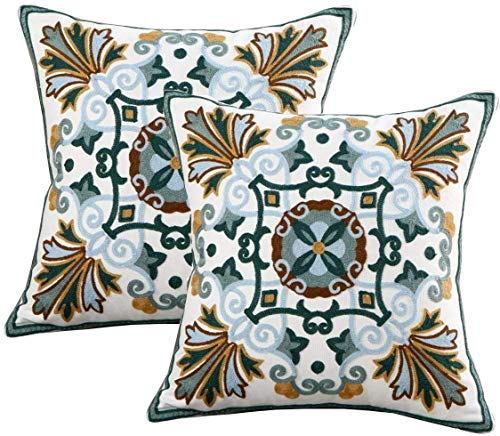 Fundas de almohada para exteriores de invierno bordadas, fundas de almohada de 45 x 45 cm, decoración de algodón para sofá, cama, sala de estar, 2 unidades